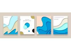 冷色调波浪背景名片模版流体几何背景图彩色折页封面