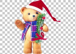 熊与圣诞帽PNG图片
