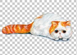 手绘趴着的猫咪png