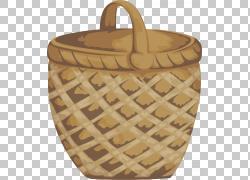 手绘竹篮子png素材