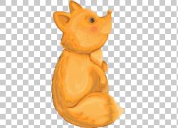 手绘黄色狐狸png素材