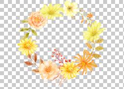 唯美手绘画花环花圈png素材