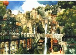 动漫,市容,瀑布,热气球,动漫,幻想城市11158