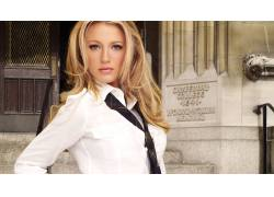 Blake Lively,女性,女人,美女,领带,面对,人物,金发,灰色的眼睛,