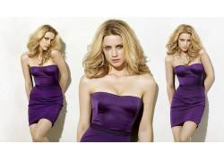 Amber Heard,金发,裸露的肩膀,连衣裙,紫色,分裂,腿,眼睛,简单的