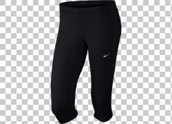 Capri裤子Nike Tights Clothing,耐克PNG剪贴画跑步,女人,黑色,腹