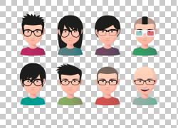 阿凡达发型插图,年轻男性和女性戴着眼镜阿凡达PNG剪贴画玻璃,酒图片