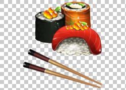 寿司日本料理Tamagoyaki饭团,寿司套,筷子旁边食物插图PNG剪贴画图片