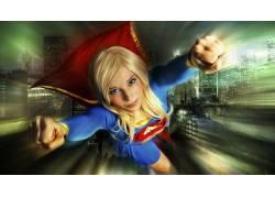 超女,超级英雄,金发,角色扮演,飞行,蓝眼睛,女性,女人,美女,建造,
