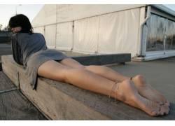 黑发,户外的女腿,脚,脚镯,女性,女人,美女,城市的,在户外,人物587