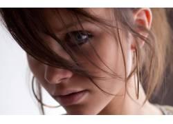 黑发,蓝眼睛,看着观众,面对,特写,模特,美女14992