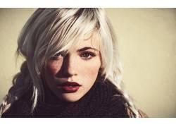 德文翡翠,女性,女人,美女,面对,白金金发,雀斑,蓝眼睛,肖像,看着