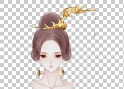 中国发型绘图美容,发髻PNG剪贴画紫色,头发配件,画,黑色头发,手,图片