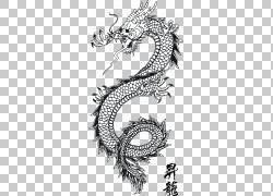 中国龙,龙纹身PNG剪贴画传奇生物,龙,单色,头,中国,虚构人物,设计图片