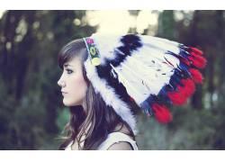 黑发,头饰,羽毛,轮廓,人物,模特,美女14621