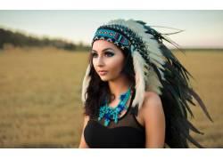 黑发,头饰,黑色的衣服,蓝色,羽毛,女性,女人,美女,人物,黑发,长发