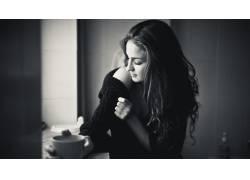 黑发,女性,女人,美女,单色,长发,咖啡,毛线衣,分裂,杯子33243