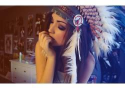 黑发,女性,女人,美女,梅拉尼伊格莱西亚斯,头饰,羽毛,闭着眼睛,人