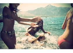 黑发,女性,女人,美女,比基尼泳装,海,珊瑚礁小姐,礁日历,一群模特