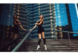 黑发,女性,女人,美女,芭蕾舞演员,楼梯,人物,城市的54186