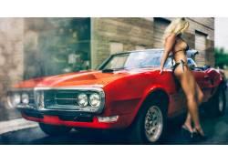 肌肉车,女性,女人,美女,金发,比基尼泳装,汽车的女性,女人,美女,图片