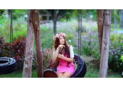 花圈,波动,亚洲,女性,女人,美女,吉他,户外的女粉红色的裙子,乐器