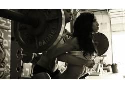 健身房,女性,女人,美女,体育,举重,长发,健身人物,单色23740
