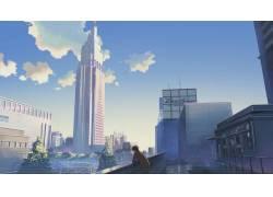 动漫,动漫,市,云,摩天大楼,每秒5厘米,真琴新海36590图片
