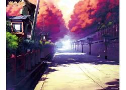 动漫,路径,动漫,树木,性质,自然光,夏季,艺术品,阳光56895图片