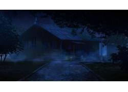 动漫,ArseniXC,茅屋,路径,晚,永恒的夏日112338图片