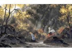 动漫,东方,艺术品,瀑布,阳光,Inubashiri Momiji,Kawashiro Nitor