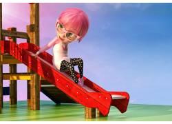 滑滑梯上的卡通女孩