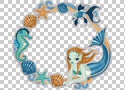 美人鱼,蓝色美人鱼壳花边材料拉PNG剪贴画框架,免费Logo设计模板,图片