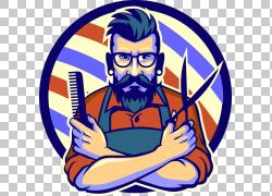 美发师理发美容院发型,美发师扣材料,男子拿着剪刀和头发梳PN图片