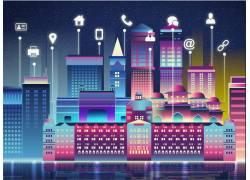 繁华建筑物夜景