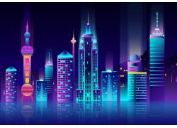 上海城市夜景矢量图