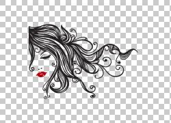 墙贴花美容院发夹,流动的头发PNG剪贴画黑头发,人,单色,脊椎动物,图片