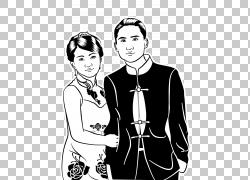 旗袍黑白连衣裙,黑色和白色连衣裙PNG剪贴画T恤,白色,黑色头发,黑图片