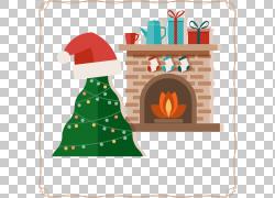 圣诞树圣诞老人壁炉圣诞节装饰品,温暖的圣诞节PNG clipart帽子,图片