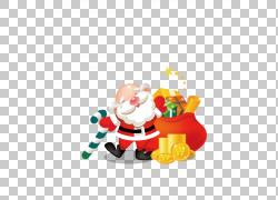 圣诞老人圣诞节礼物圣诞节礼物象,金子圣诞老人PNG clipart节日元图片