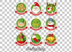 圣诞老人圣诞节贴纸标签,9圣诞节丝带选项卡PNG clipart功能区,标图片