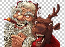 圣诞老人圣诞节驯鹿例证,圣诞老人和麋PNG clipart哺乳动物,节日图片