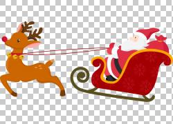 圣诞老人雪橇圣诞节海报,圣诞鹿雪橇PNG剪贴画哺乳动物,节日元素,图片