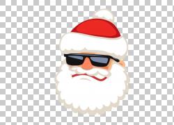 圣诞老人驯鹿,圣诞老人戴着太阳镜PNG剪贴画生日快乐图像,头,图片