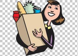 杂货店购物袋超市,清洁和清洁PNG剪贴画的女人商业女性,食品,手,图片