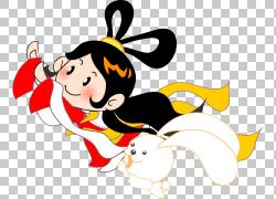 中秋节月饼月亮兔,卡通嫦娥PNG剪贴画卡通人物,卡通武器,节日元素图片