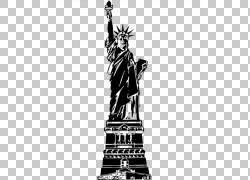 自由女神像,建筑物PNG剪贴画单色,美国,虚构人物,版税,纪念碑,单图片
