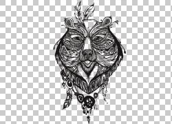 熊纹身图腾绘图,图腾纹身PNG剪贴画杂项,单色,头,虚构人物,设计,图片