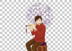 长笛乐器插图,中国水彩插图,年轻人吹长笛PNG剪贴画水彩画,水彩叶图片