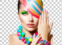 化妆品美容指甲油修指甲,头发颜色性感美女,女人多彩多姿的头发插图片